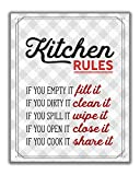 Red Retro Kitchen Rules Wall Art Print - 8x10 UNFRAMED Gray, Red & White Funny Kitchen Print for Modern Farmhouse, Rustic, Vintage, Cottage, Country Decor.
