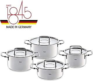 Fissler bonn - Batería de cocina de inducción (4 piezas, incluye tapa de cristal, 3 ollas y 1 cacerola)