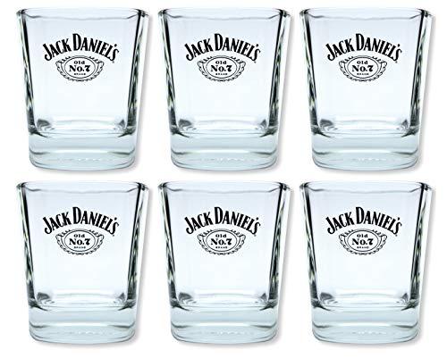 6 Jack Daniels Whisky Tumbler - original Gläser Set - mit Füllstrichen 2cl/4cl