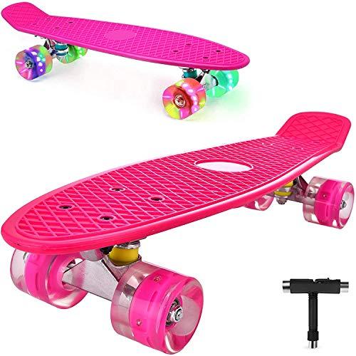 DaddyChild Mini Cruiser Skateboard Retro Komplettboard, 56cm Vintage Skate Board mit Kunststoff Deck und blinkenden LED-Rollen, Cruiser-Board mit LED Leuchtrollen für Erwachsene Kinder Jungen (Pink)