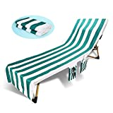 Beach Chair Cover with Side Pockets Microfiber Chaise Lounge Chairs Towels for Lounger Pool Sunbathing Garden Beach Swimming, No Sliding, 84x30 in (Green Stripe)