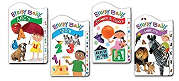 Brainy Baby Board Book Set of 4 ABCs,123s Animals Shapes and Colors Classic Tab