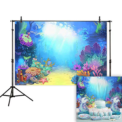 Allenjoy 7x5ft Summer Under The Sea Photography Backdrop Little Mermaid Princess Girl Background for Birthday Party Ocean Theme Baby Shower Photo Booth Studio Decorations Cake Table Banner