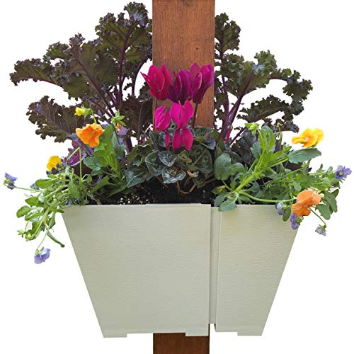 El Patio Designs Adjustable Hanging Planter: Wrap Around Square Container for Flowers and Herbs. Design Outdoor Vertical Gardens on Porch Posts, Pergolas, Mailboxes and More.