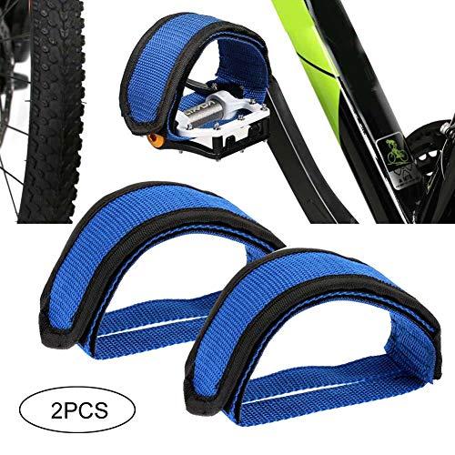 Gcroet 2Pcs Fixie Pedalriemen Fahrradpedale mit Riemen Radfahren Kinder Fahrrad Fußpedalriemen Zehenclips Riemen Band für Festes Zahnrad Fahrrad Blau