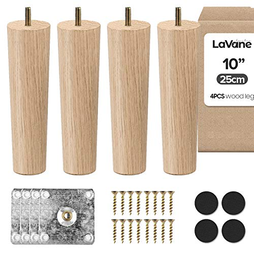 10 Zoll / 25cm Holz Tischbeine, La Vane 4 Stück Massivholz Konisch Ersatz Möbelfüße Möbelbeine mit vorgebohrten M8 5/16