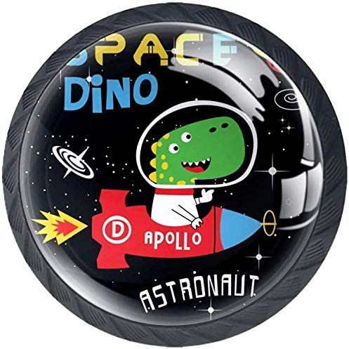 4 Pack Round Kitchen Cabinet Cheap bargain Knobs Dino Pulls Space 1-3 Fresno Mall Cartoon