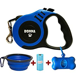 Bonna Retractable Dog Leash for Medium – Small Dogs and Cats 16.5FT Tangle Free, Heavy Duty Walking Leash with Anti Slip Handle, Pause and Lock Strong Nylon Tape, Dog Leash Retractable