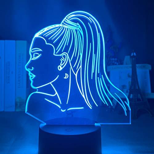 Celebrity LED Night Light Singer Ariana Grande Face Mesita de noche Lámpara de mesa Decoración de la habitación Luz cambiante Mesa de trabajo 3D Mesita de noche Lámpara