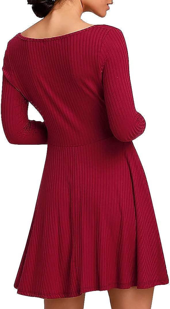 Jusfitsu Womens Long Sleeve Casual Swing Dress Knit A-Line Square Neck Ribbed Fit Slim Short Dress