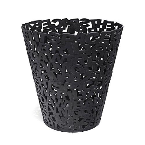Balvi Corbeille à Papier Letters Couleur Noir Plastique 30cm