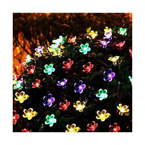 Focos Exterior Solares Peach Flower Lámpara solar Power String Fairy Lights Solar Guirnaldas Jardín Decoración de Navidad para al aire libre (Emitting Color : A)