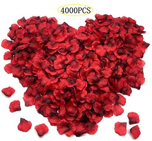4000 Stück Rosenblätter, künstliche Rosenblätter Rot Dekoration Hochzeit Liebe Romantik Rote Rose für Romantische Atmosphäre und Hochzeit, Geburt, Taufe, Valentinstag Dekoration