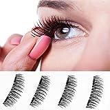 Newest Dual Magnetic False Eyelashes(4 Pieces)3D Reusable Fake Eyelashes Fake eye Lashes Extensions No false eyelashes glue