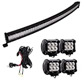 Northpole Light LED Light Bar, 52 Inch 300W Curved Spot Flood Combo LED Light Bar with 4PCS 18W CREE Flood LED Work Lights and 12V 40A Wiring Harness for Off Road, Truck, Car, ATV, SUV …