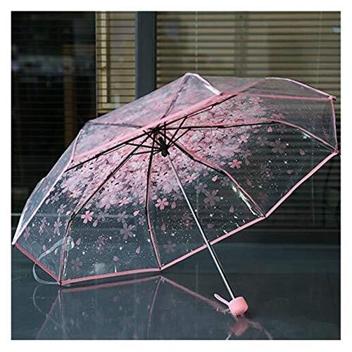 XINSHENG Store Paraguas Claro Transparente de la Flor de Cerezo Sakura Mushroom Apolo 3 Protección del Paraguas Paraguas Plegable (Color : Rosado)