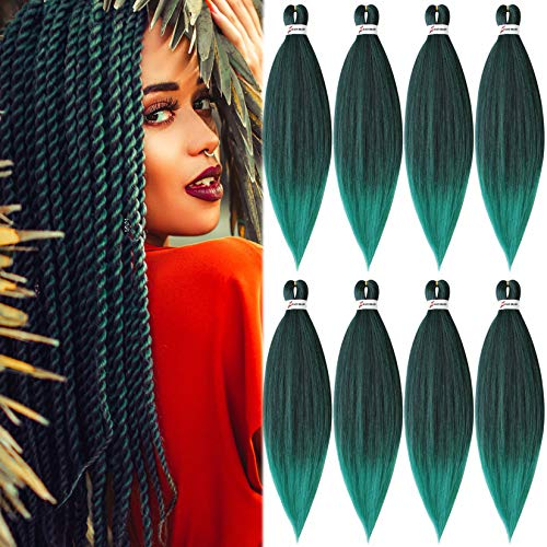 8 Packs Pre-Stretched Braiding Hair 20' Braids Professional Synthetic Hair for Crochet Twist (20' 8 Packs, T1B/Green)