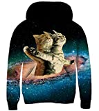 RAISEVERN Kids Hoodie Casual Fleece Sweatshirt 3D Galaxy Colorful Space Titanic Cats Print Child Hooded Shirt Dark Blue Comfy Cute Funny Shining Pullover Hoody Outfits for Teen Boys Girls(11-14 Years)