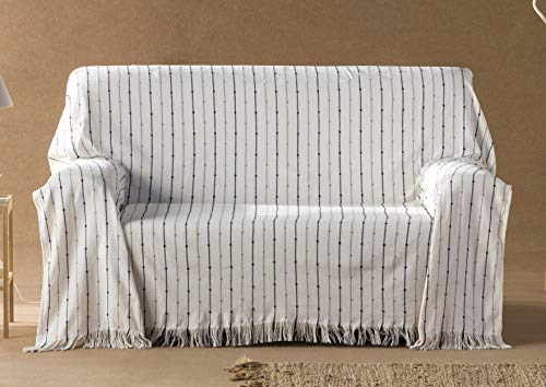 DECORACION NUEVO ESTILO- Plaid-Foulard Multiusos Toscana para Camas o sofás, tamaño 230 x 260, Color 99 Crudo (Varias Medidas y Colores)