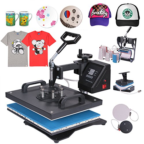 Mophorn Heat Press 8 in 1 12 X 15 Inch Multifunction Sublimation Heat Press Machine Desktop Iron Baseball Hat Press 900W Digital Swing Away Transfer T Shirt Hat Mug (8IN1 12x15Inch)