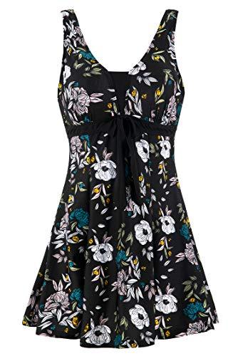 Wantdo Bañador 1 Pieza Playa Estampado Natación Floral Falda para Mujer Impresión de Ciruela Negra 52-54