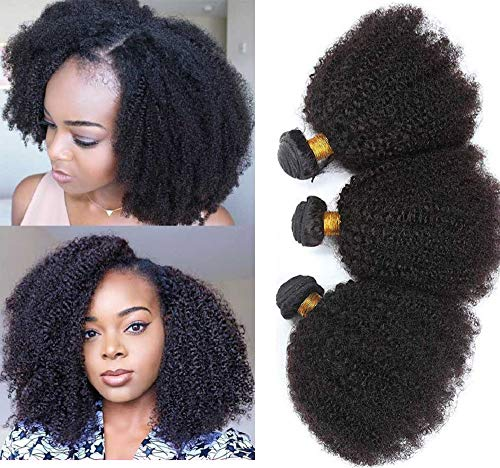 Allnice Mongolian Afro Kinky Curly Human Hair 3 Bundles 100% Unprocessed Virgin Afro Kinky Human Hair Bundles 8A Grade Kinky Curly Weave Human Hair for Black Women Natural Color (12 14 16inch)