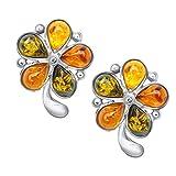 ANDANTE Premium Collection – Pendientes de ámbar del mar Báltico auténtico en plata de ley 925 ** Flor multicolor ** Certificados - Oro...