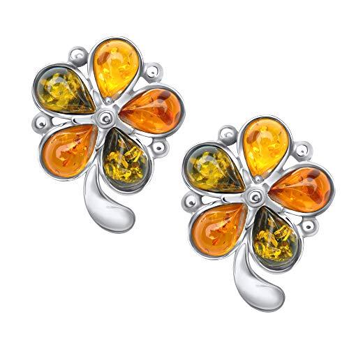 ANDANTE Premium Collection – Pendientes de ámbar del mar Báltico en plata de ley 925 * flor multicolor * certificado – oro del mar – Color COGNAC, verde, limón