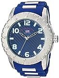 U.S. Polo Assn. Men's Quartz Watch with Rubber Strap, Blue, 23 (Model: US9684AZ)