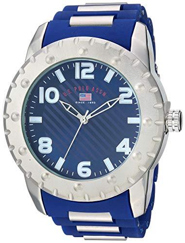 U.S. Polo Assn. Reloj de cuarzo para hombre con correa de goma, azul, 23 (modelo: US9684AZ)
