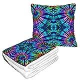 Tie Dye Perfection 2 en 1 Manta suave y cálida de viaje para avión de felpa para el cuello de la...