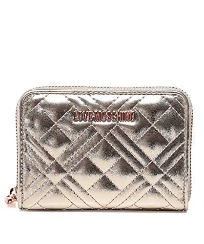 Love Moschino Moschino Damen gesteppter Reißverschluss um die Brieftasche Gold Ein Größe