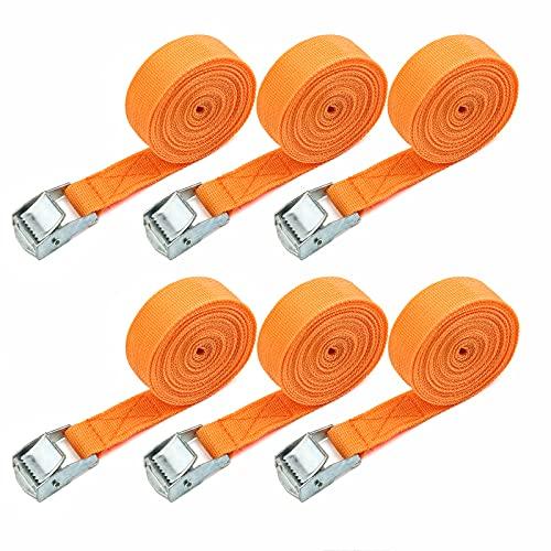 6Stücke 3M Zurrgurte Gurte Schnellverschluss-Zurrgurte Spanngurte Mit Klemmschloss Geeignet für Fahrradständer, Koffer und Multifunktionsgeräte Befestigungsgurt (Orange)