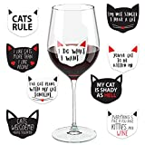 Cat Wine Glass Drink Markers - 18 Static Clings Reusable Stickers - For Wine Tasting Party, Wine Gift and Favors