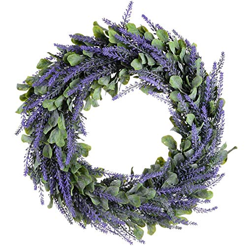 Artificial Wreath, Door Wreath 17 Inch Lavender Spring Wreath Round Wreath for The Front Door, Home Decor