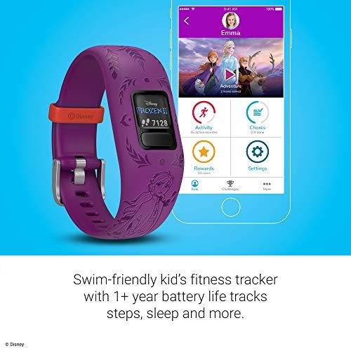 Garmin vívofit Jr 2, Kids Fitness/Activity Tracker, 1-Year Battery Life, Adjustable Band, Disney Frozen 2, Anna, Purple 6