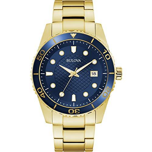 Bulova Herren Analog Quarz Uhr mit Edelstahl Armband 98A197