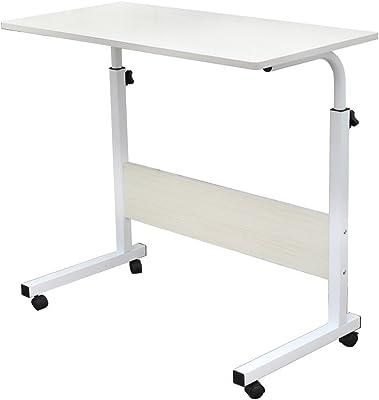 SogesHome 80 * 40 cm Tavolino Mobile Comodino Scrivania del Computer Banco di Stand Tavolo Regolabile in Altezza Tavolino per Divano Letto 05#1-80MP-SH-1