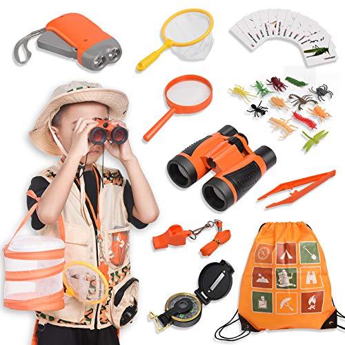 Joyjoz Kit Esploratore Bambini - 37 Pz Binocolo Bambini Kit: Kit Acchiappa-Insetti per Bambini, Binocolo, Abbigliamento Gioco di Ruolo & Cappello, Torcia, Bussola e Scatolina Porta Insetti