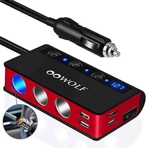 OOWOLF Adaptador De Encendedor De Cigarrillos Carga Rápida QC3.0, [7 en 1] 4 Puertos USB y 3 Puertos Cargador Coche USB 12V/24V para GPS, Dash CAM, Sat Nav, iPhone,Teléfono,Tableta, y etc