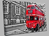 Qbbes, London Red Bus Canvas Wall Art Picture Print-16x12inch(40x30cm)no frame