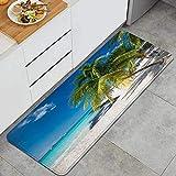 GLONLY Palma de Coco en la Playa caribeña Cancún México Alfombrillas de Cocina Antideslizantes Felpudo Lavable Juego de Alfombras de Microfibra