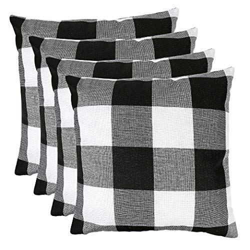 MENGT Pack of 4 Farmhouse Buffalo Check Plaid Cotton Linen Soft Solid Decorative Square Throw Pillow Covers Home Decor Design Set Cushion Case for Sofa Bedroom Car 18 x 18 Inch, Black and White