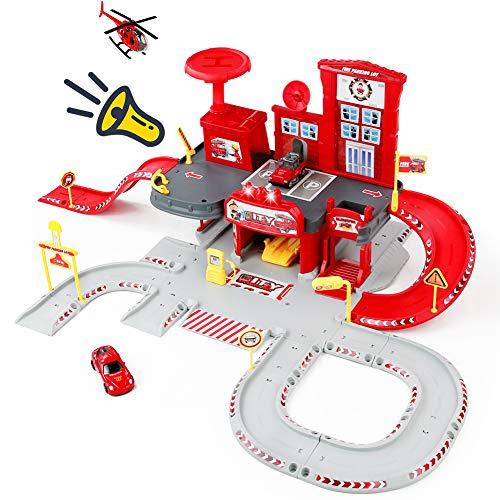 Nuheby Parkgarage Parkhaus Kinder Feuerwehrstation Spielzeug ab 3 4 5 Jahren Junge Mädchen,Garage Spielzeug mit Aufzug, 2 Feuerwehrauto und 1 Hubschrauber Kinderspielzeug(72 PCS)