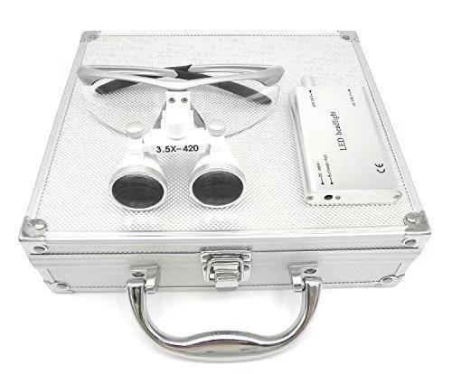 bonew Dental 3,5x -420mm quirúrgico Binocular Loupes lupa Kit con LED Cabeza luz caja de aluminio plata color