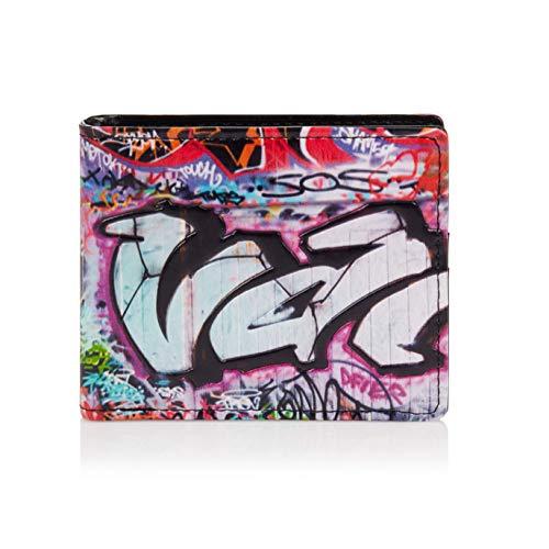 SHAGWEAR ® Portafoglio Uomo Porta Carte di Credito con Portamonete Borsellino Portafogli Banconote : (graffiti colorati/Colorful Graffiti)