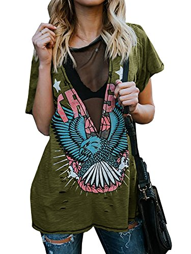 Outgobuy Camiseta de manga corta para mujer, sexy, punk, rock, con estampado de águila, informal, cuello en V verde S