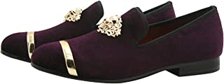Mens Loafers Velvet Slip-on Party Casual Moccasin Flats Shoes with Gold Buckle Black Purple Blue