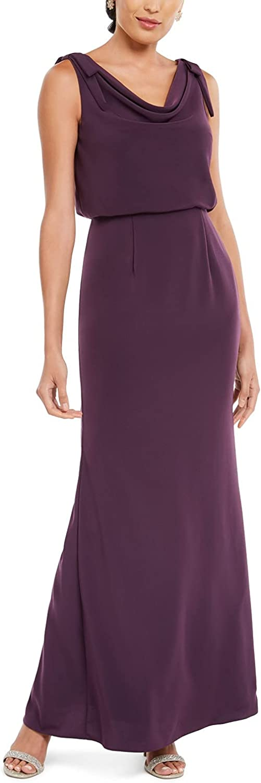 Adrianna Papell Womens Purple Sleeveless Cowl Neck Maxi Sheath Evening Dress Size 14