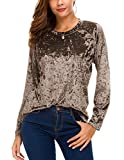 Women's Vintage Velvet T-Shirt Casual Long Sleeve Top (S, Coffee)